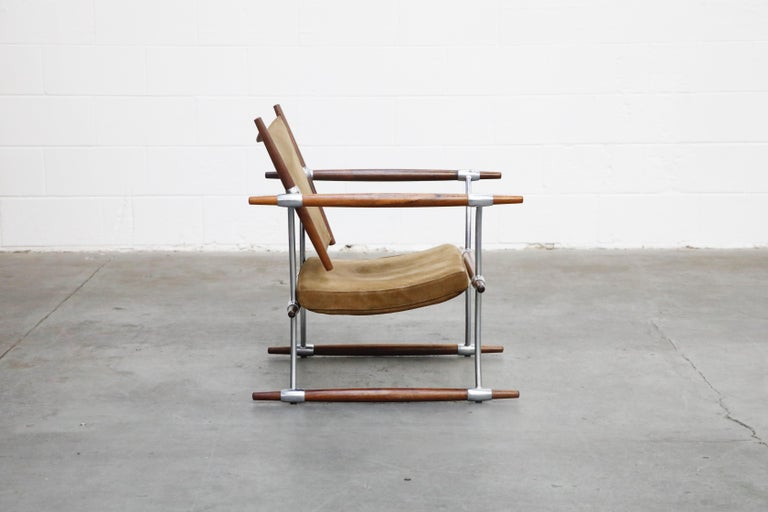 Suede 'Stokke' Lounge Chair by Jens H. Quistgaard for Nissen Langaa, 1960s, Signed For Sale