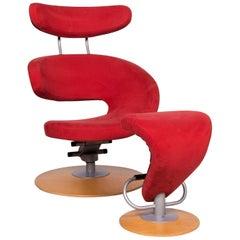 Stokke Peel Stoff Microfaser Sessel Rot Inkl. Hocker Relax Funktion Olav Eldøy