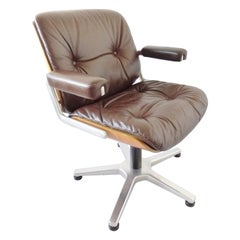 Stoll Giroflex Leather Office Chair by Karl Ditter, Mid-Century Modern, Swivel