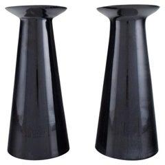 Stölzle-Oberglas, Austria, Two Beatrice and Nora Vases in Black Art Glass, 1980s