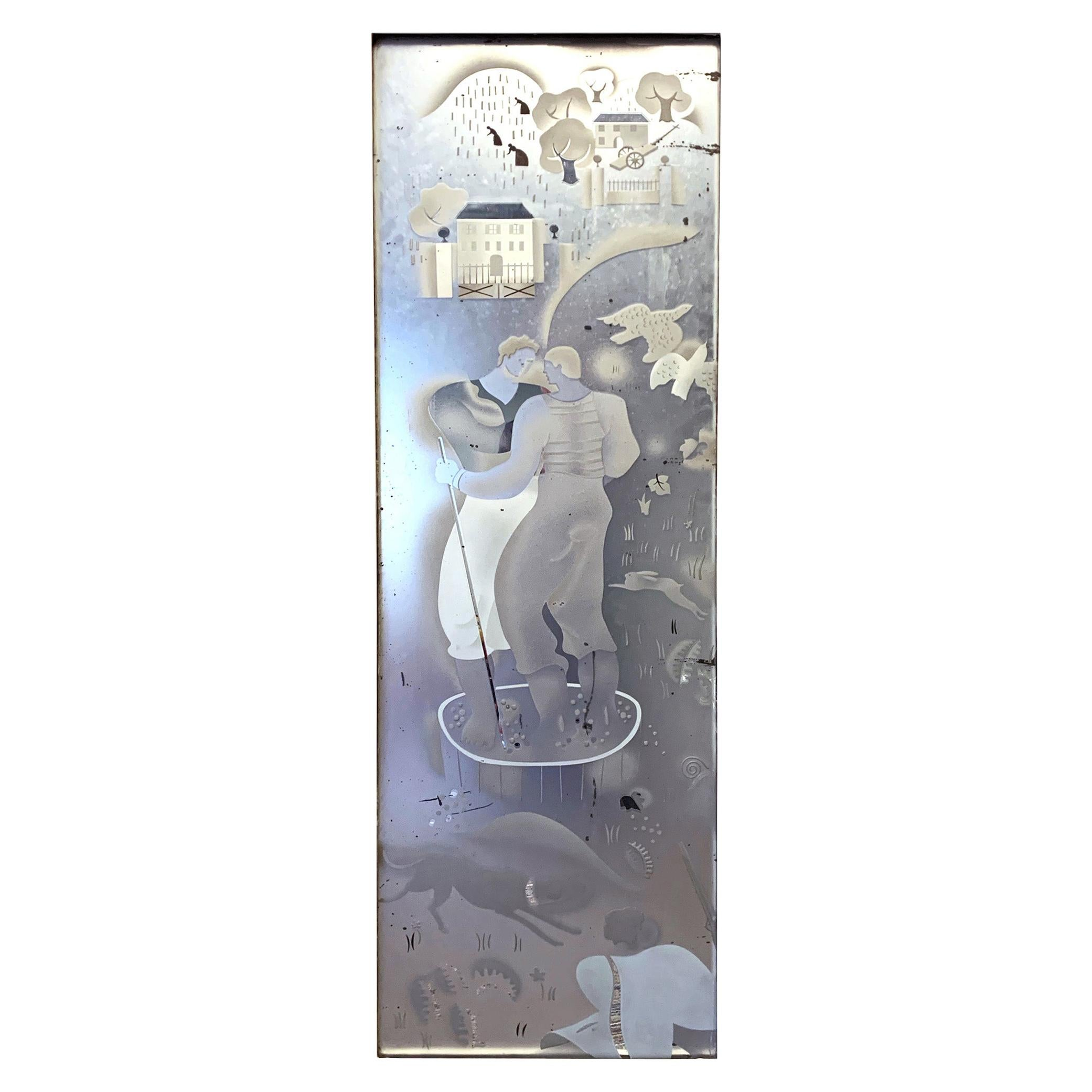 """""""Stomping Grapes,"""" Art Deco Etched/Enameled Mirrored Panel with Winemaking Scene"""