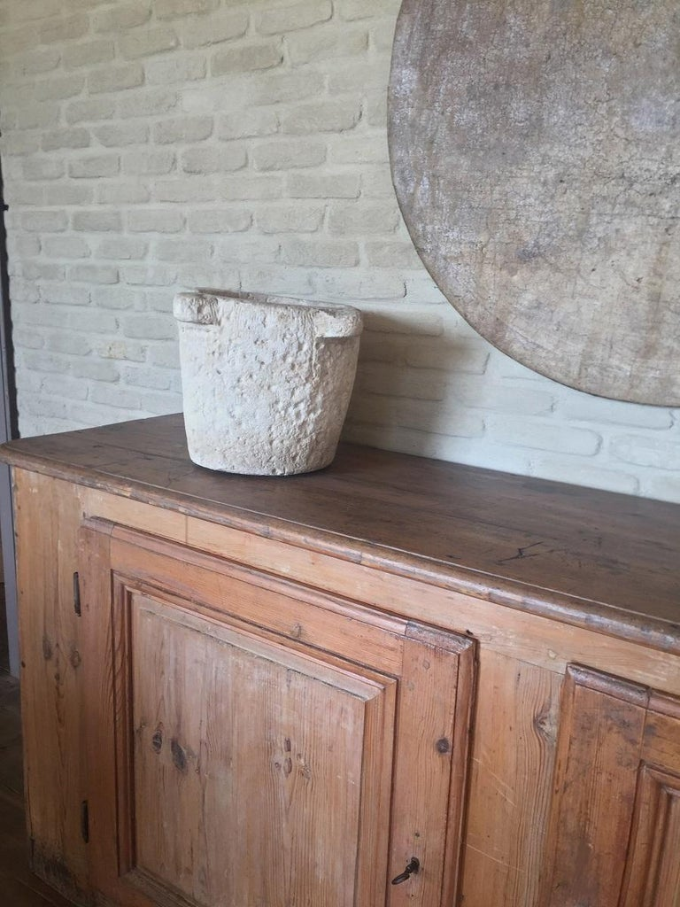 Hand-Carved Stone 17th Century Mortar For Sale