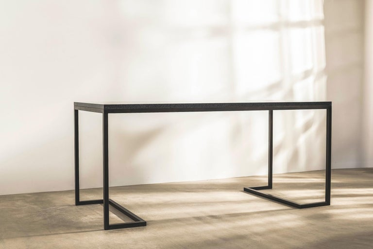 Modern Stone and Brass Desk with Honed Granite Top by John Pawson For Sale