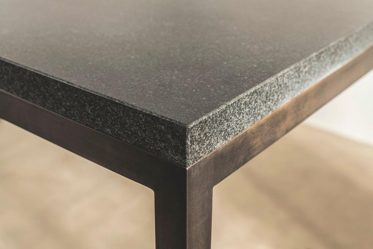 Contemporary Stone and Brass Desk with Honed Granite Top by John Pawson For Sale