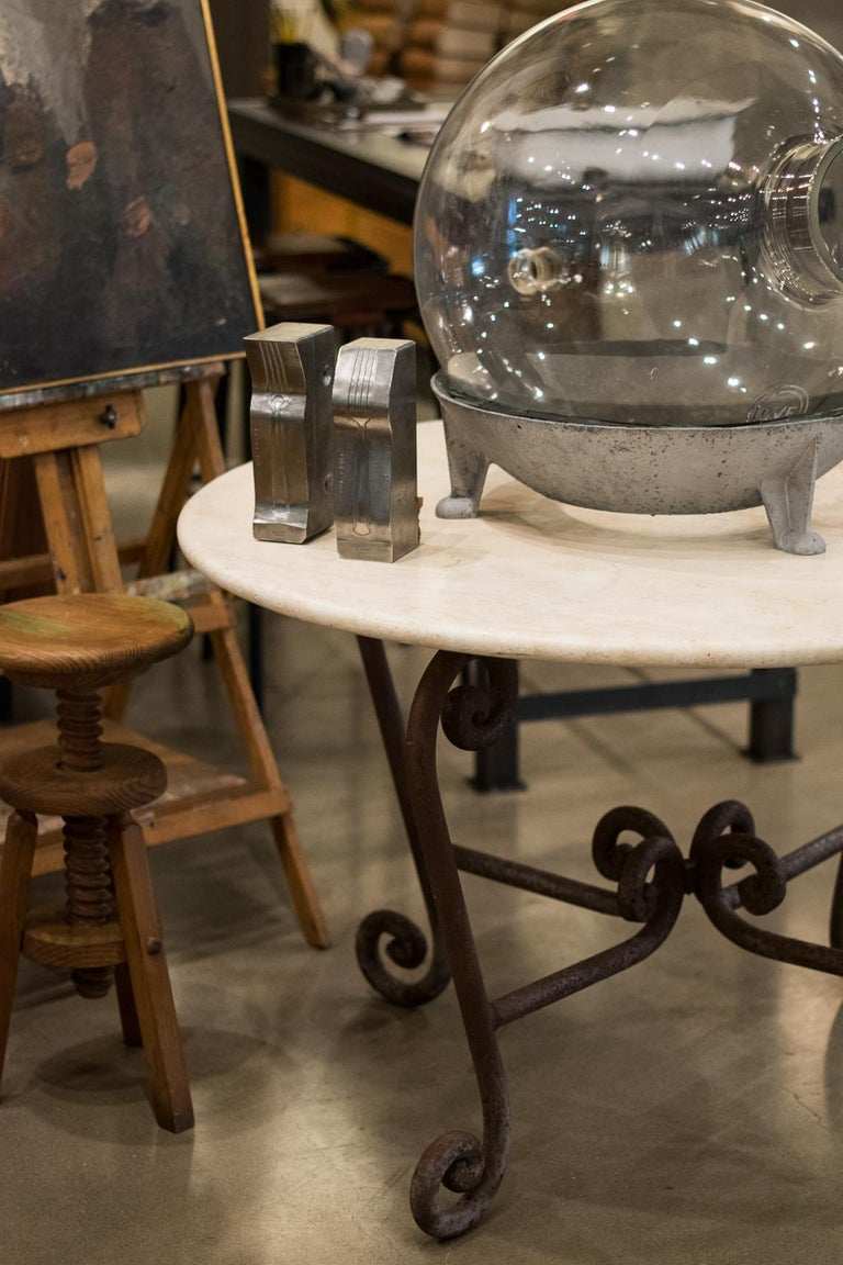 Stone and Iron Center Table In Good Condition In Austin, TX