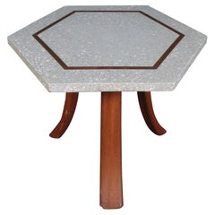 Stone and Wood Side Table in the Style of Adrian Pearsall