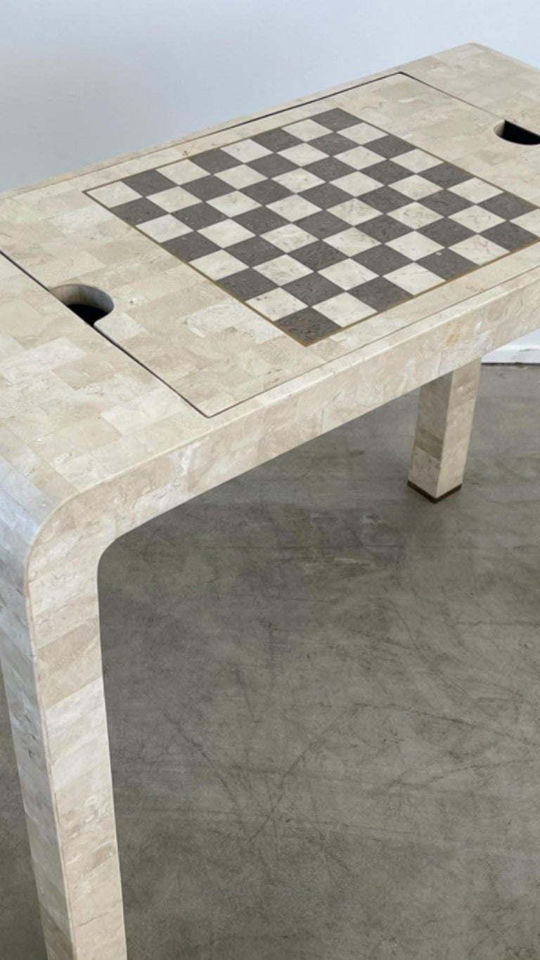 Late 20th Century Stone Backgammon/Checkers Table For Sale