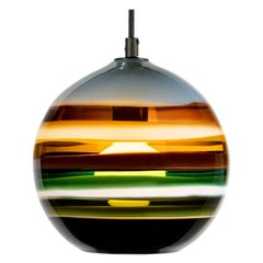 Stone Banded Orb by Siemon & Salazar, Handblown Glass, Colorful Pendant