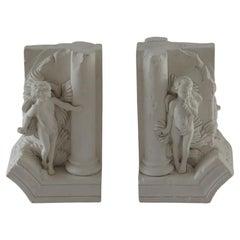 Stone Bookends Hide & Seek Cherubs by Revival Art Company, 20th Century