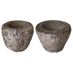 19th Century Rustic Stone Bowls