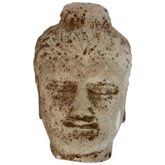 Stone Buddha Head Sculpture, 20th Century
