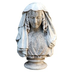 19th Century Carved Stone Bust of a Woman