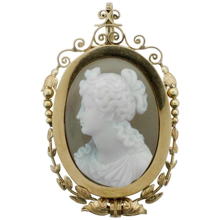 Stone Cameo Brooch Pendant, circa 1900 For Sale
