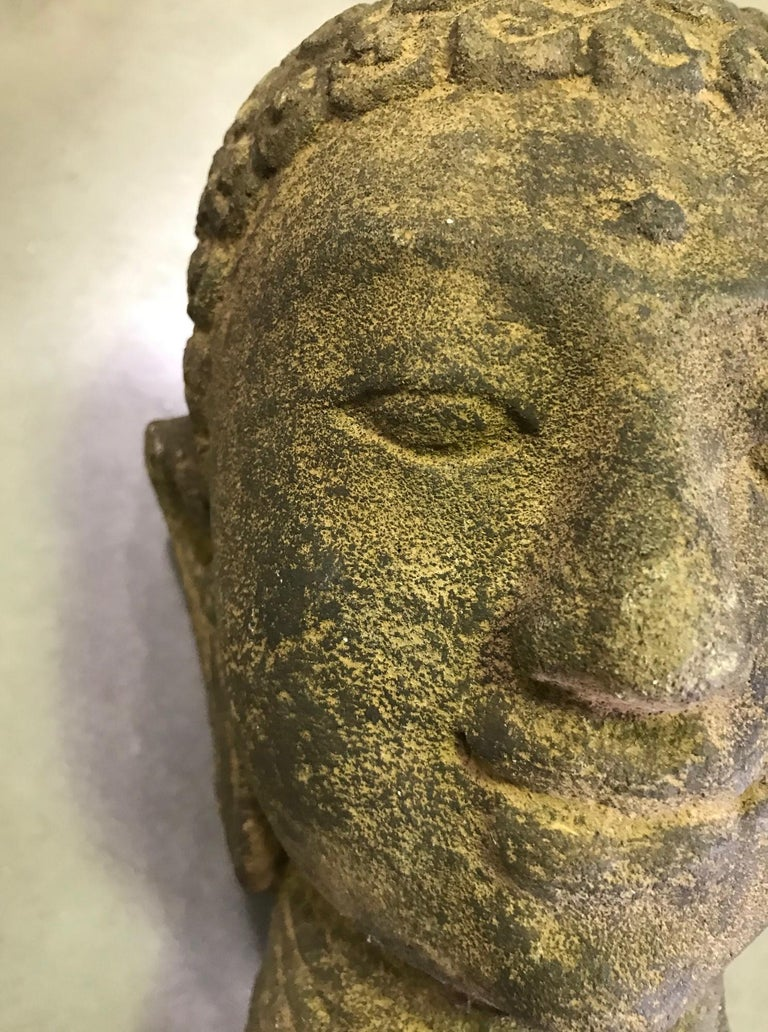 Stone Carved Head of Buddha Sculpture For Sale 5