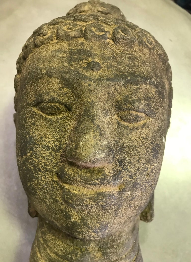 Stone Carved Head of Buddha Sculpture For Sale 6