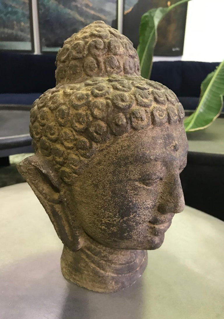 Asian Stone Carved Head of Buddha Sculpture For Sale