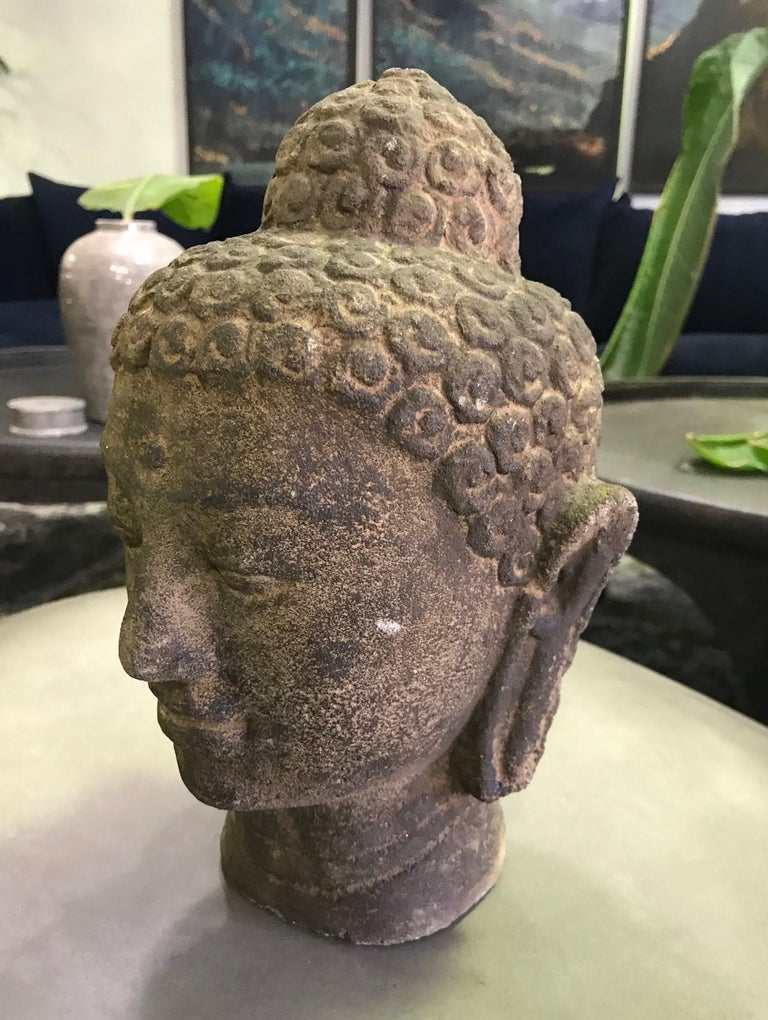 Hand-Carved Stone Carved Head of Buddha Sculpture For Sale