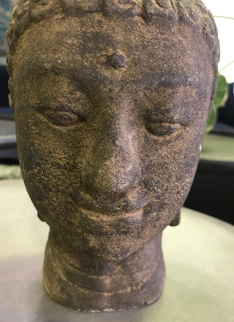 Stone Carved Head of Buddha Sculpture In Good Condition For Sale In Studio City, CA