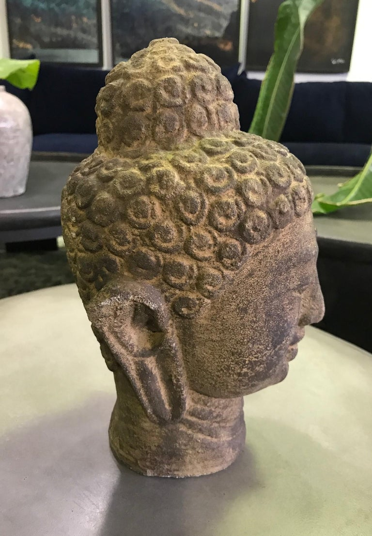 20th Century Stone Carved Head of Buddha Sculpture For Sale