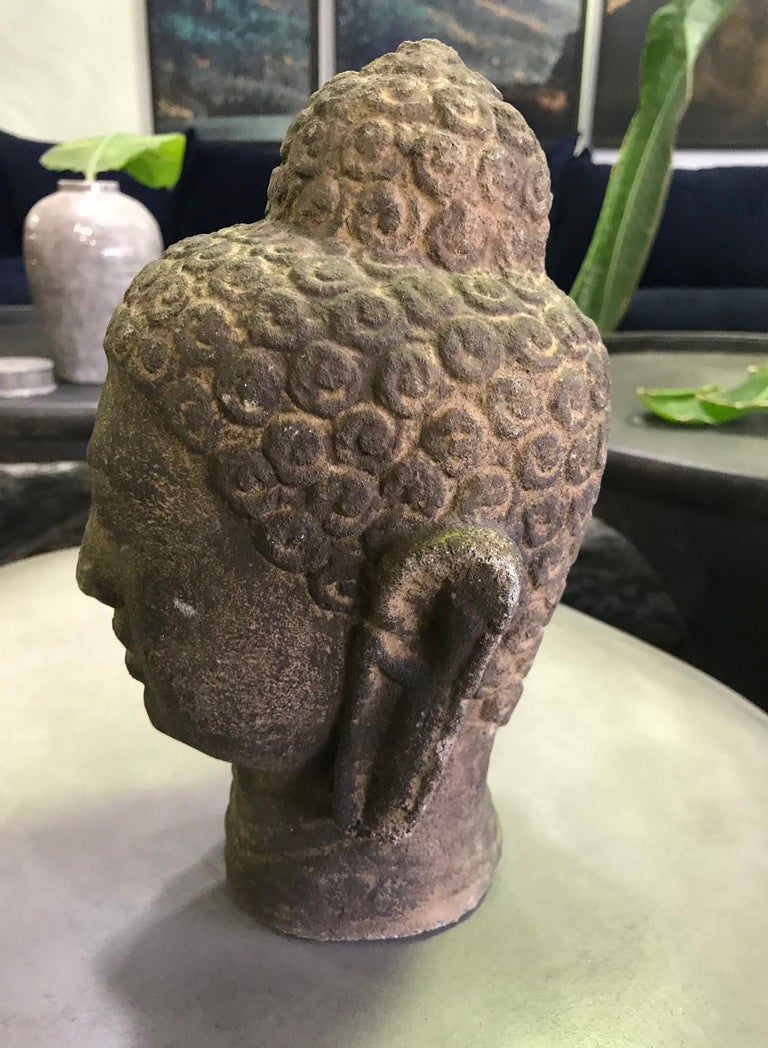 Stone Carved Head of Buddha Sculpture For Sale 1