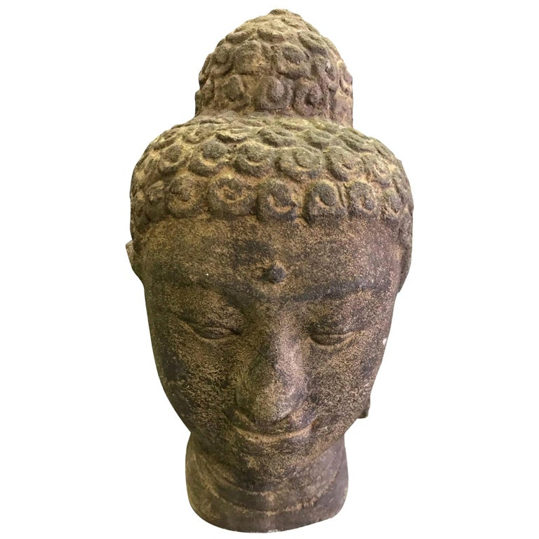 Stone Carved Head of Buddha Sculpture For Sale