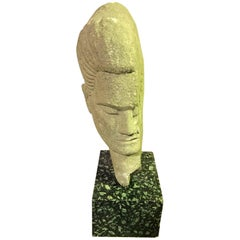 Stone Carved Heavy Abstract Head Sculpture on Base in the Style of Modigiliani