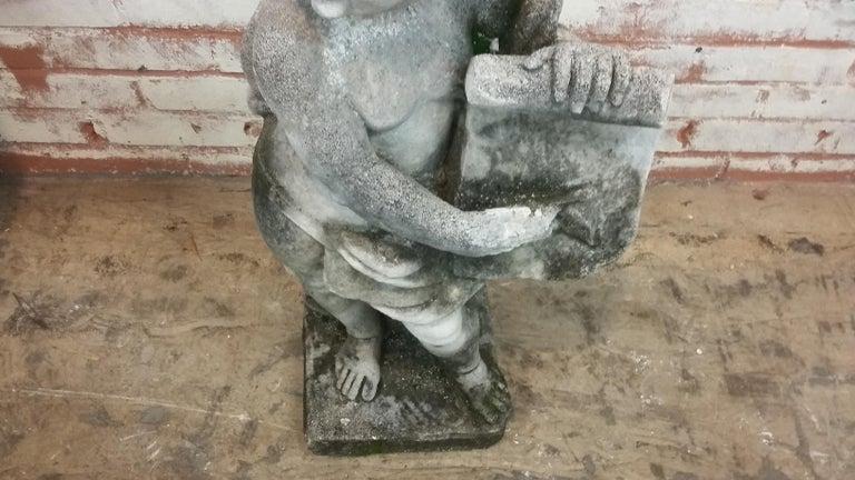 English Stone Cherub Statue For Sale