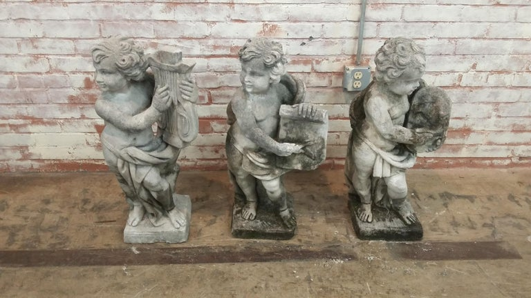 Stone Cherub Statue For Sale 2