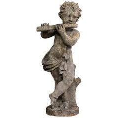 Stone Cherub with Flute