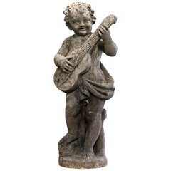 Stone Cherub with Guitar