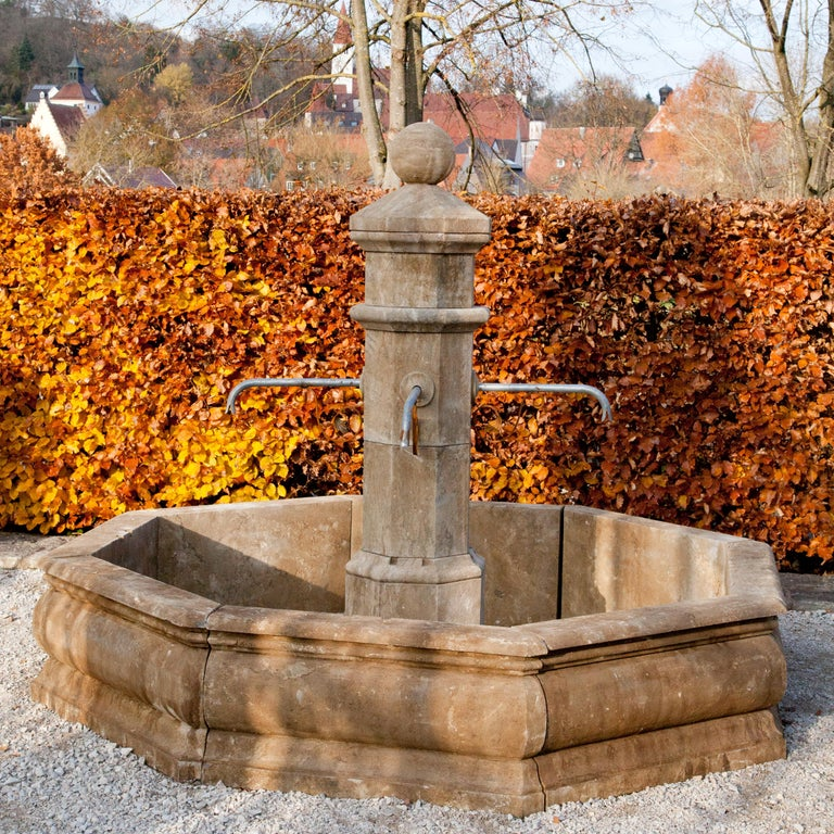 Hand-Carved Stone Court Fountain, 21st Century For Sale