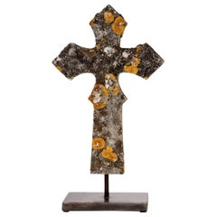 Stone Cross Mounted on Steel Stand