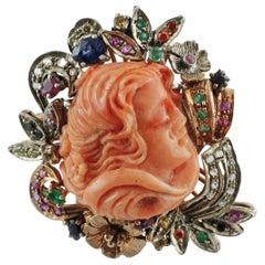Stone, Diamonds, Rubies, Emerald, Sapphires, 9 Karat Gold and Silver Retro Ring
