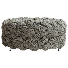 Stone Green Pouf, Handmade Crochet elements in Cotton & Polyester