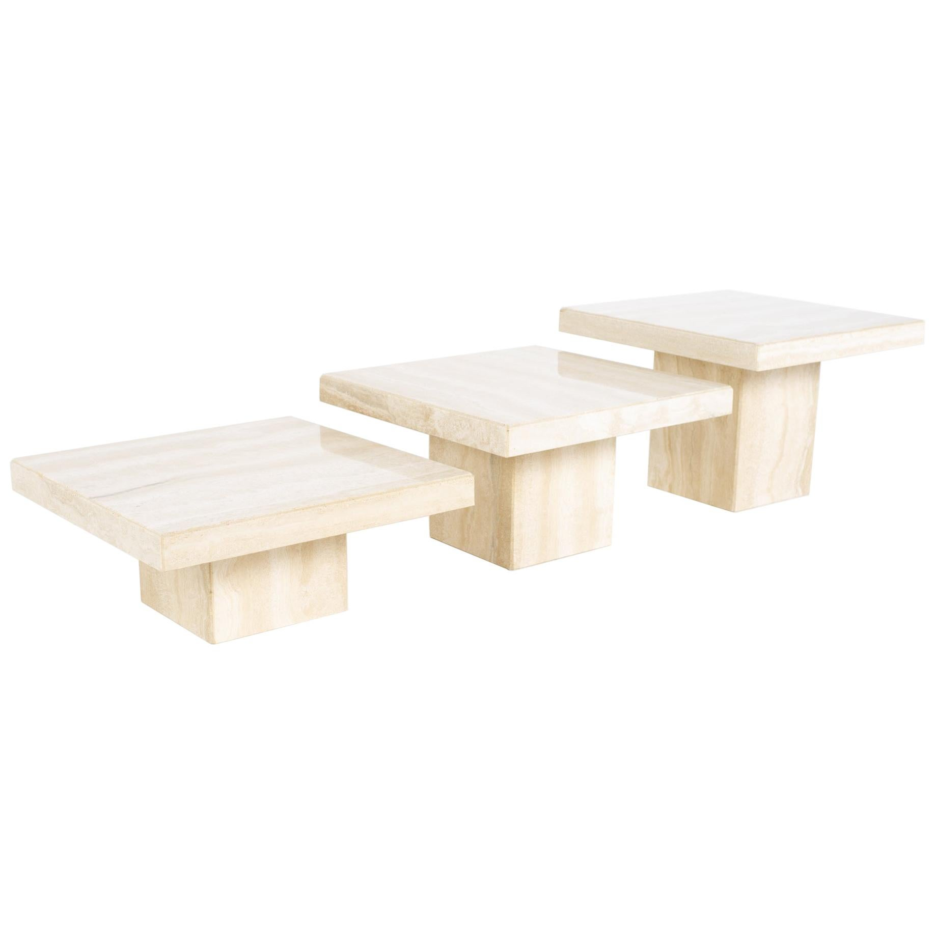 Stone International MCM Italian Travertine Marble Coffee Table Set, 3 Piece