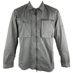 STONE ISLAND Size XL Dark Gray Wash Cotton Zip Up Jacket