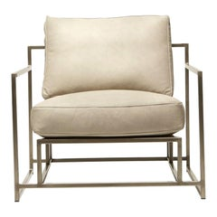 Stone Leather and Antique Nickel Armchair