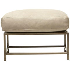Stone Leather and Antique Nickel Ottoman