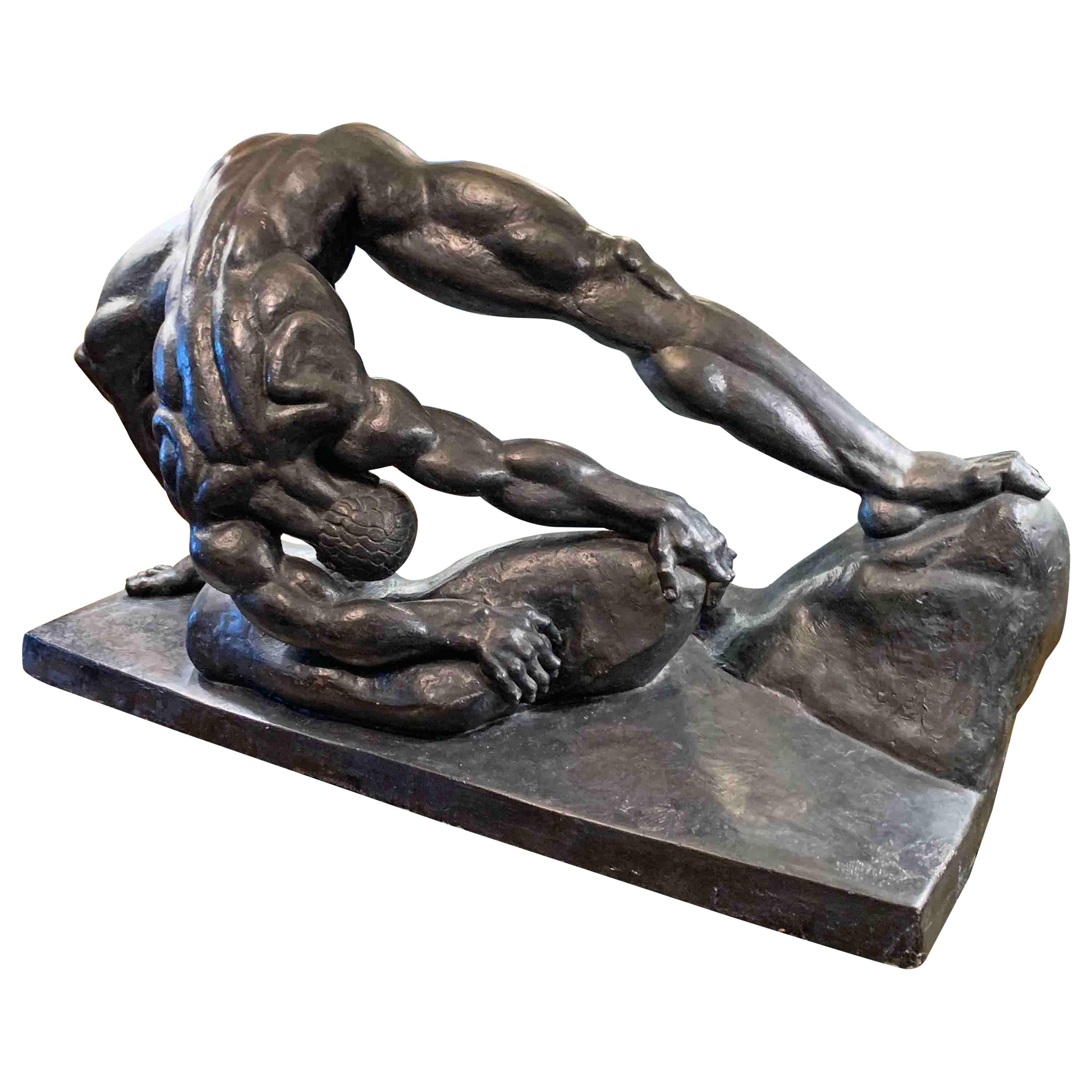 """""""Stone Lifter,"""" Monumental, Rare Art Deco Sculpture with Nude Male, 1936"""