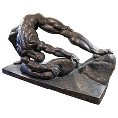"""Stone Lifter,"" Monumental, Rare Art Deco Sculpture with Nude Male, 1936"