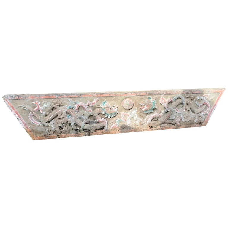 Mantle Double Dragon & Wish Granting Jewel Garden Stone, 18th-19th Century For Sale