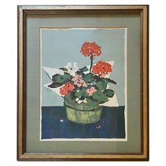 Stone Lithograph of Geraniums by Nantucket Artist Andrew Shunney, circa 1960s