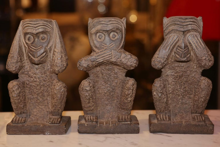 Sculpture stone monkeys set of 3 large