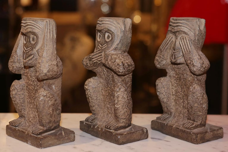 Indonesian Stone Monkeys Set of 3 Large Sculpture in Stone For Sale