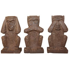 Stone Monkeys Set of 3 Large Sculpture in Stone