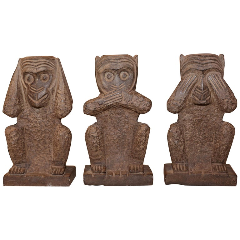 Stone Monkeys Set of 3 Large Sculpture in Stone For Sale