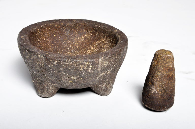 Stone Mortar with Pestle In Good Condition For Sale In Chicago, IL