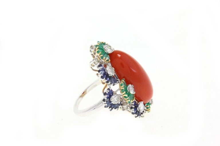 Retro Italian Coral Multistone and Diamond Gold Ring For Sale