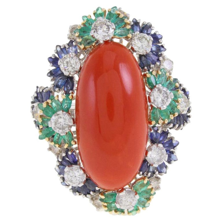 Italian Coral Multistone and Diamond Gold Ring For Sale