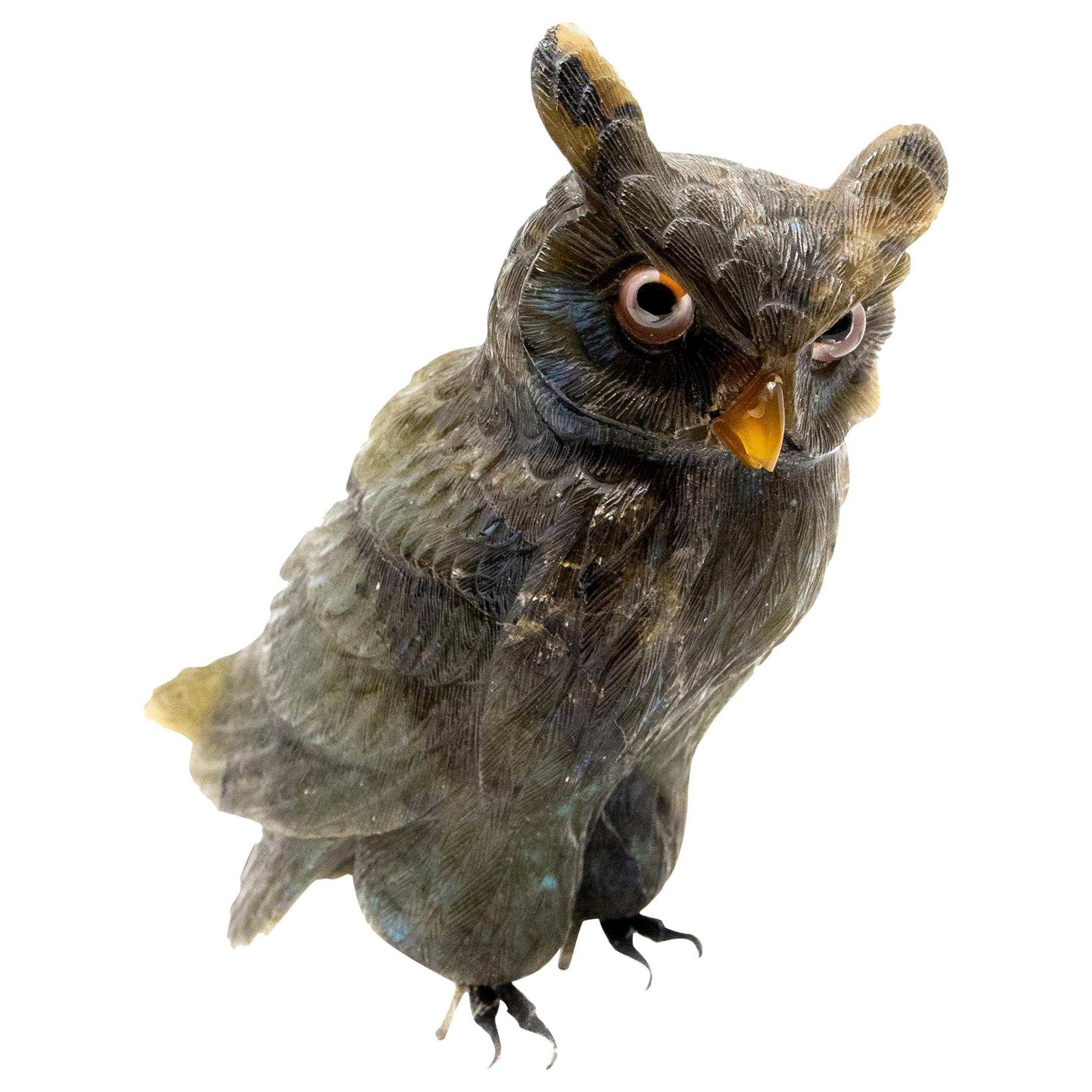 Stone Owl Figuring, Vintage Hand Carved